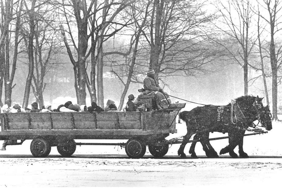 A horse-drawn hay ride was just one of the events at the Lion's Club Second Annual Festival at Cove Island Park on Feb. 27, 1988. Photo: Advocate