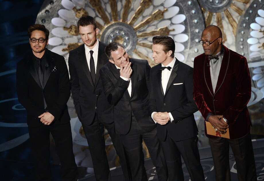 Actors Robert Downey Jr., Chris Evans, Mark Ruffalo, Jeremy Renner and Samuel L. Jackson present onstage during the Oscars held at the Dolby Theatre on February 24, 2013 in Hollywood, California. Photo: Kevin Winter, Getty Images / 2013 Getty Images