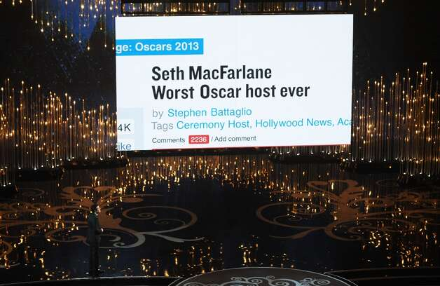 Host Seth MacFarlane opens the show at the 85th Annual Academy Awards on February 24, 2013 in Hollywood, California. AFP PHOTO/Robyn BECK Photo: ROBYN BECK, AFP/Getty Images / AFP