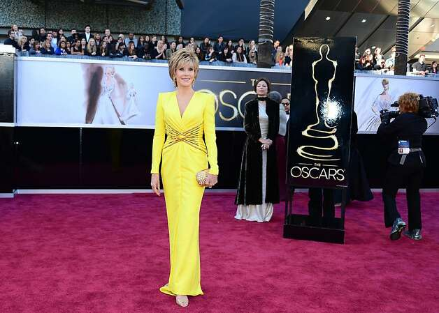 Jane Fonda looked far younger than her 75 in rich yellow Versace. Photo: Frederic J. Brown, AFP/Getty Images