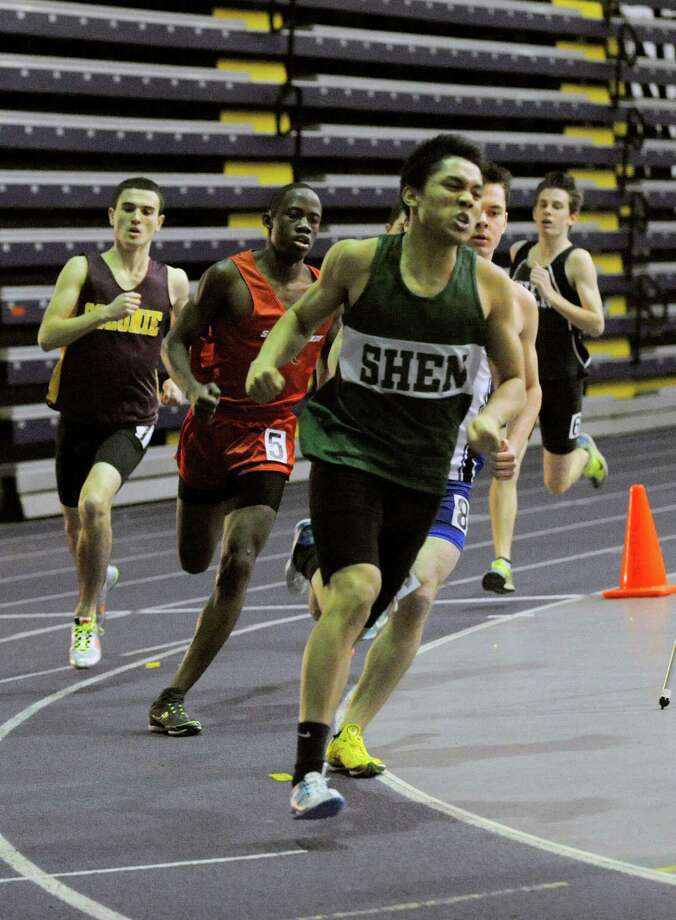 Jerome Pabulayan of Shenendehowa High School stays out front to win wins the Boys 600 Meter final race during the State Indoor Track Qualifier at the SEFCU Arena in Albany, N.Y., Sunday, Feb. 24, 2011. (Hans Pennink / Special to the Times Union) High School Sports Photo: Hans Pennink / Hans Pennink