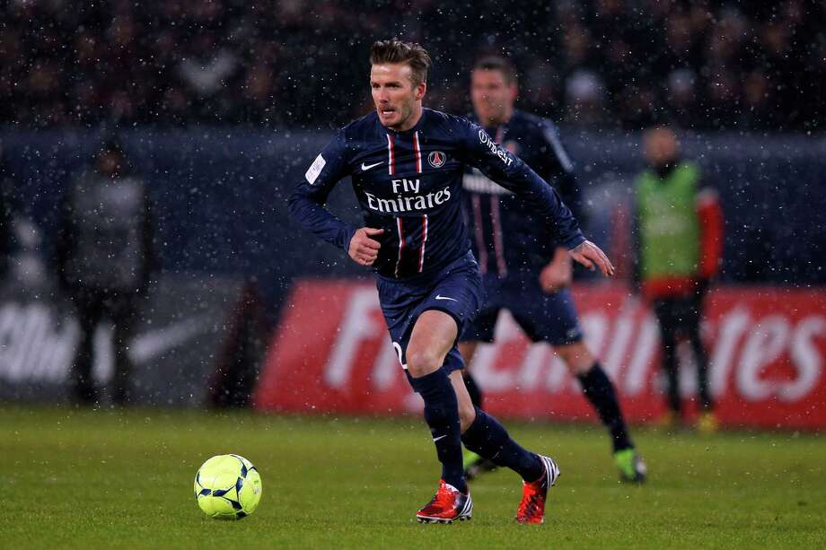 David Beckham hits the field for the first time Sunday with the French team Paris Saint-Germain. Photo: Dean Mouhtaropoulos, Staff / 2013 Getty Images