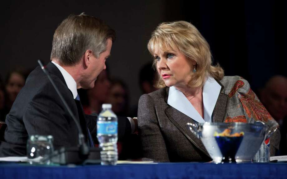 Virginia Gov. Bob McDonnell, left, and Oklahoma Gov. Mary Fallin, talk during a panel discussion on ?education and workforce: growing school leaders and teachers? at the National Governors Association 2013 Winter Meeting in Washington, Sunday, Feb. 24, 2013. (AP Photo/Manuel Balce Ceneta) Photo: Manuel Balce Ceneta, STF / AP