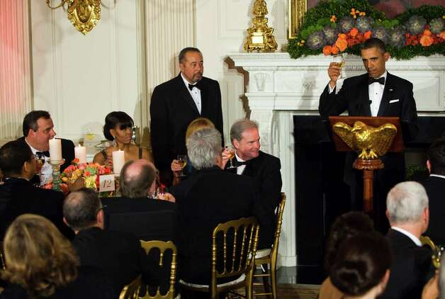 President Barack Obama makes a toast during a dinner with state governors at the White House in Washington, Feb. 24, 2013. Governors from across the U.S. convened in the nation's capital on Sunday to discuss issues facing states. (Christopher Gregory/The New York Times) Photo: CHRISTOPHER GREGORY / NYTNS