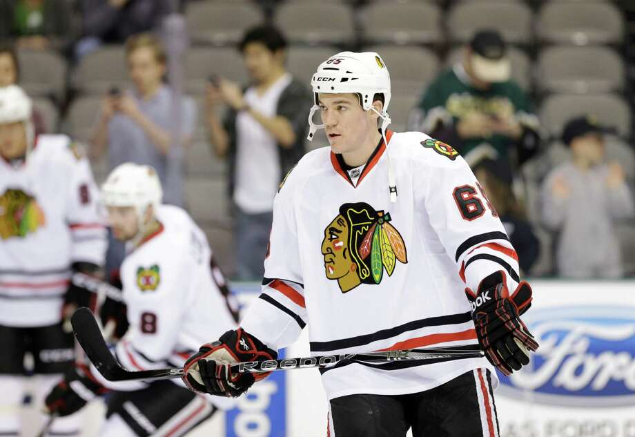 Chicago Blackhawks' Andrew Shaw (65) during warmups before an NHL hockey game against the Dallas Stars Thursday, Jan. 24, 2013, in Dallas. The Blackhawks won in overtime 3-2. (AP Photo/Tony Gutierrez) Photo: Tony Gutierrez, STF / AP