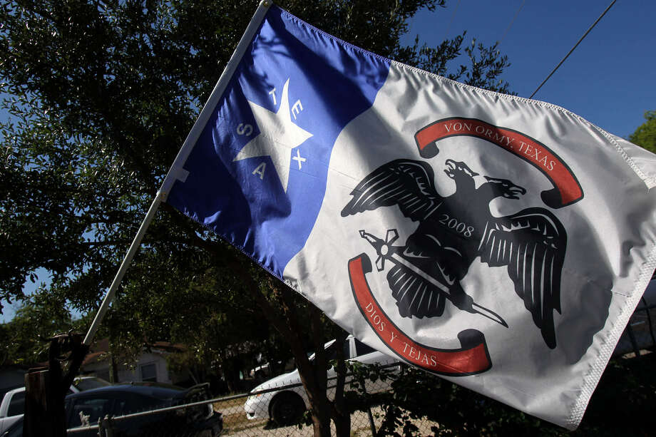 Von Ormy, whose flag is shown here, officially became a city three years ago and soon will build its first City Hall. Photo: San Antonio Express-News File Photo
