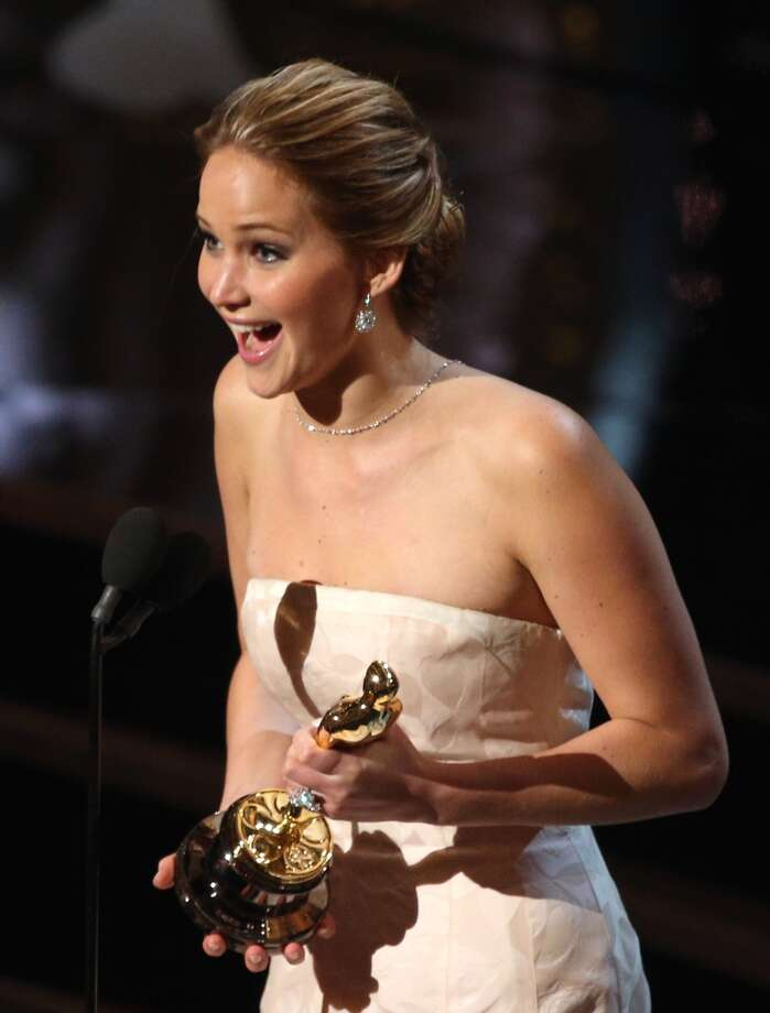 Actress Jennifer Lawrence accepts the Best Actress award for 'Silver Linings Playbook'  onstage during the Oscars held at the Dolby Theatre on February 24, 2013 in Hollywood, California.