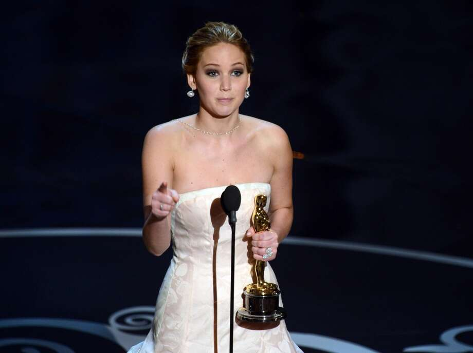 Best Actress winner Jennifer Lawrence addresses the audience onstage at the 85th Annual Academy Awards on February 24, 2013 in Hollywood, California.