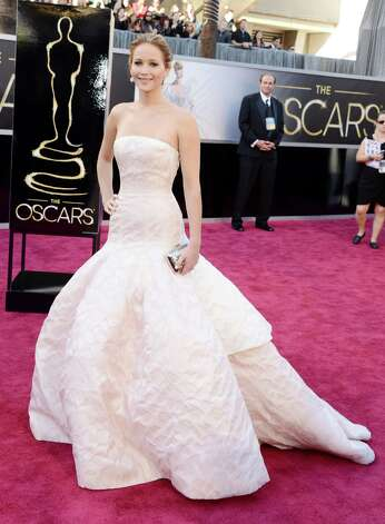 Jennifer Lawrence in Dior  at the Oscars.  (Photo by Jason Merritt/Getty Images) Photo: Jason Merritt, Staff / 2013 Getty Images