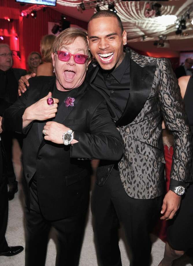 Sir Elton John and singer Chris Brown attends the 21st Annual Elton John AIDS Foundation Academy Awards Viewing Party at Pacific Design Center on February 24, 2013 in West Hollywood, California. Photo: Jamie McCarthy, Getty Images For EJAF / 2013 Getty Images