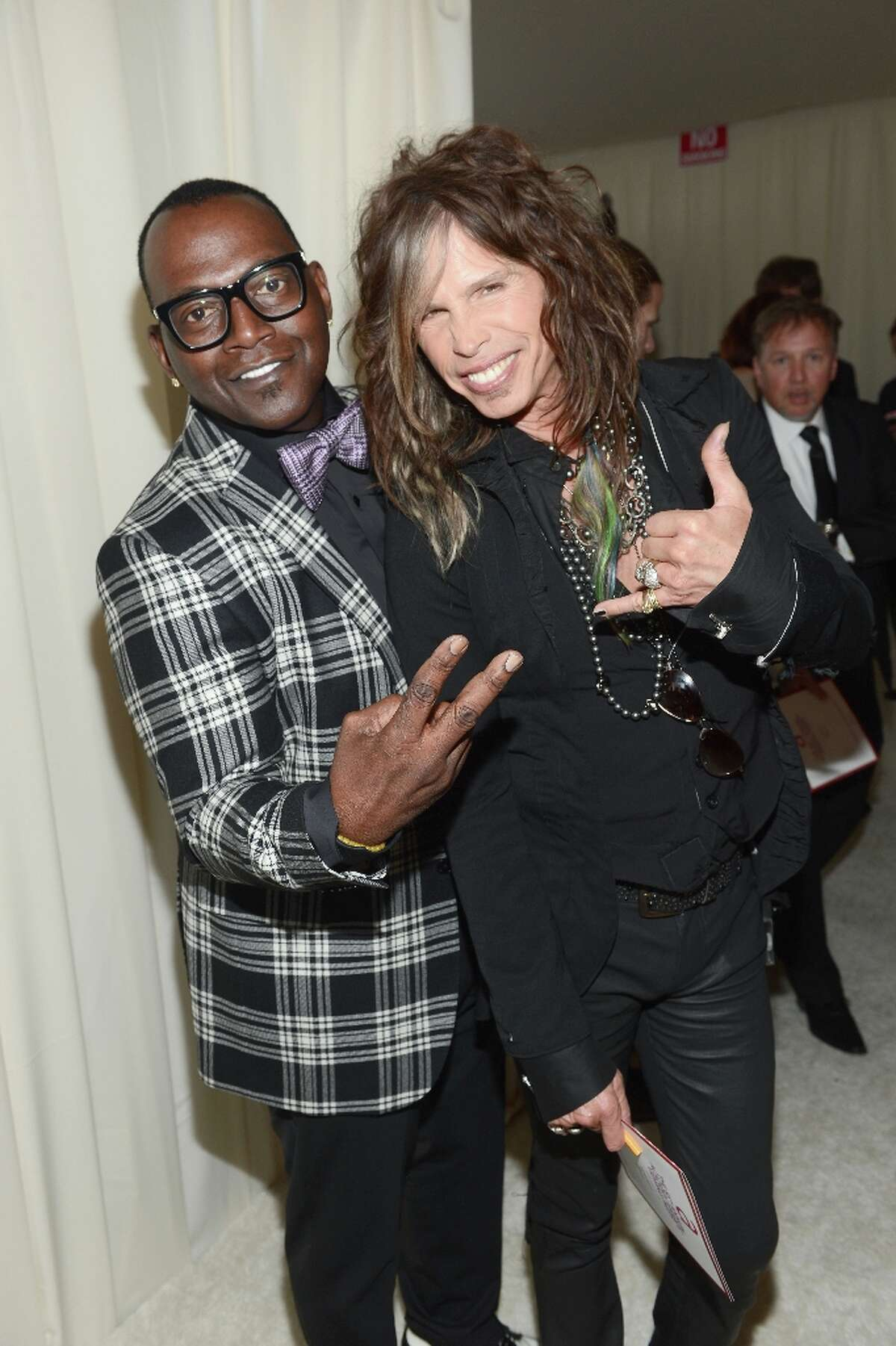 (L-R) TV Personality Randy Jackson and musician Steven Tyler attend the 21st Annual Elton John AIDS Foundation Academy Awards Viewing Party at Pacific Design Center on February 24, 2013 in West Hollywood, California.