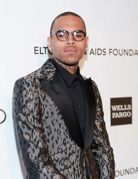 Singer Chris Brown attends the 21st Annual Elton John AIDS Foundation Academy Awards Viewing Party a