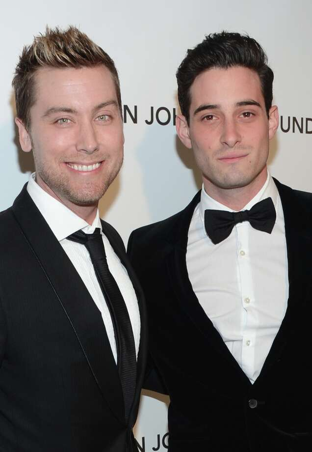 TV personality Lance Bass (L) and Michael Turchin attend the 21st Annual Elton John AIDS Foundation Academy Awards Viewing Party at Pacific Design Center on February 24, 2013 in West Hollywood, California. Photo: Jason Kempin, Getty Images For EJAF / 2013 Getty Images