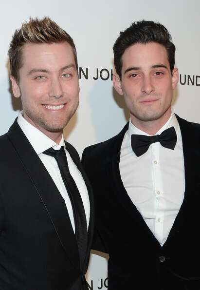 TV personality Lance Bass (L) and Michael Turchin attend the 21st Annual Elton John AIDS Foundation