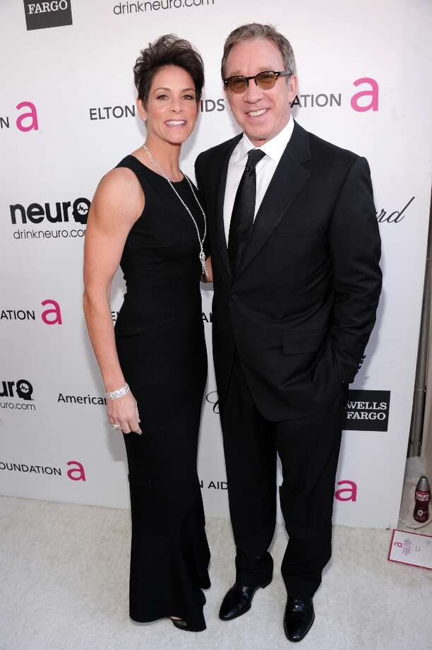 WEST HOLLYWOOD, CA - FEBRUARY 24: Actors Tim Allen (R) and Jane Hajduk attend the 21st Annual Elton John AIDS Foundation Academy Awards Viewing Party at Pacific Design Center on February 24, 2013 in West Hollywood, California. Photo: Jamie McCarthy, Getty Images For EJAF / 2013 Getty Images