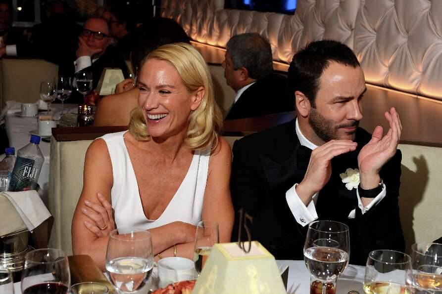 Actress Kelly Lynch (L) and designer Tom Ford attend the 2013 Vanity Fair Oscar Party hosted by Gray