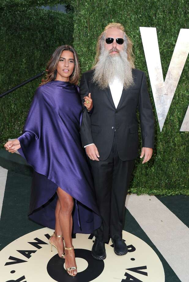 Producer Rick Rubin (R) and actress Mourielle Herrera arrive at the 2013 Vanity Fair Oscar Party hosted by Graydon Carter at Sunset Tower on February 24, 2013 in West Hollywood, California. Photo: Pascal Le Segretain, Getty Images / 2013 Getty Images