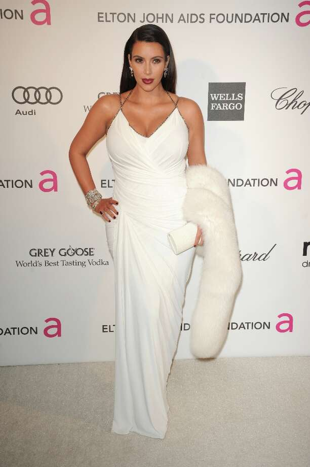 Kim Kardashian arrives for the 21st Annual Elton John AIDS Foundation's Oscar Viewing Party  February 24, 2013 in Hollywood, California. AFP PHOTO/Mehdi TAAMALLAH Photo: MEHDI TAAMALLAH, AFP/Getty Images / AFP