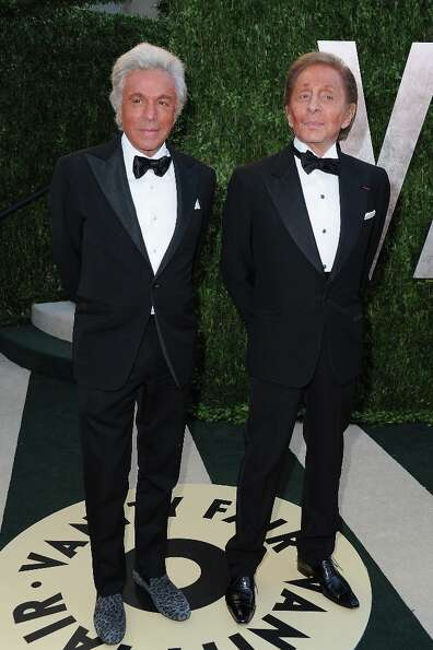 Giancarlo Giammetti and desiger Valentino arrives at the 2013 Vanity Fair Oscar Party hosted by Gray