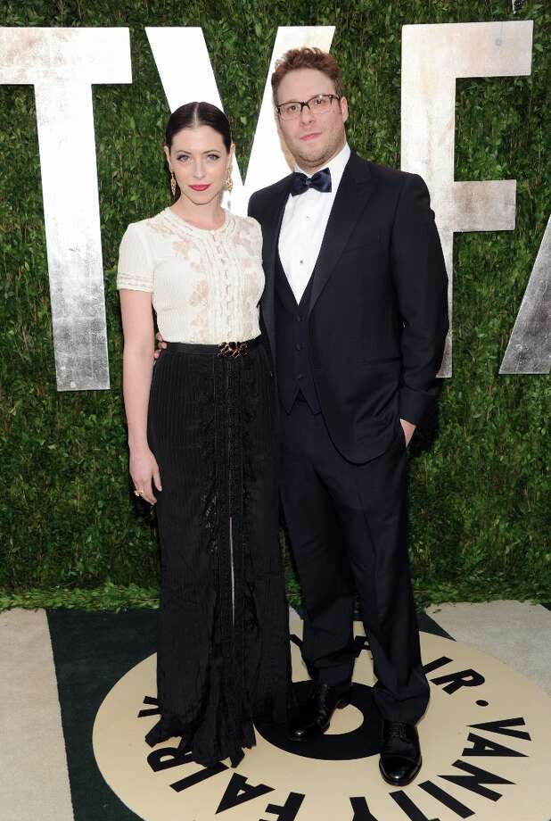 Actor Seth Rogen, right, and wife Lauren Miller arrive at the 2013 Vanity Fair Oscars Viewing and After Party, Sunday, Feb. 24 2013 at the Sunset Plaza Hotel in West Hollywood, Calif. (Photo by Evan Agostini/Invision/AP) Photo: Evan Agostini, Associated Press / Invision