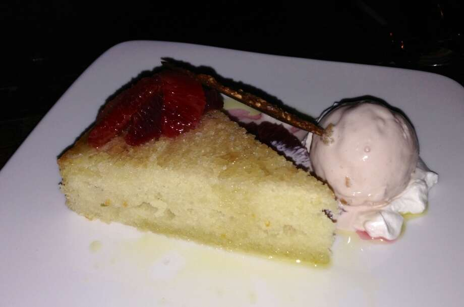 Olive oil cake with blood orange at Duende in Oakland