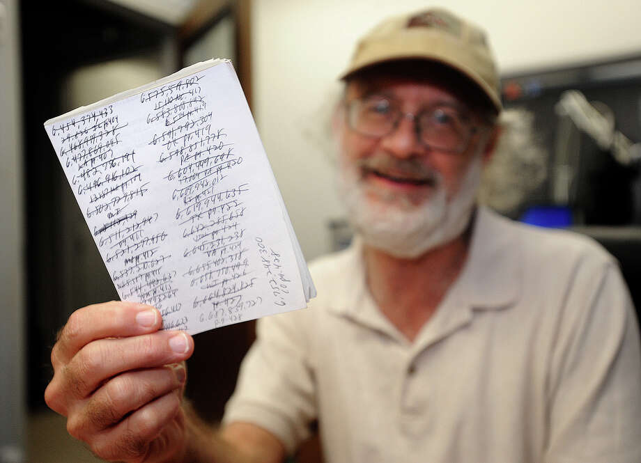 An avid counter, Joe Elwell spends his spare time counting for fun. So far, Elwell has reached a number that has 34 digits and eleven commas.  Photo taken Thursday, February 21, 2013 Guiseppe Barranco/The Enterprise Photo: Guiseppe Barranco, STAFF PHOTOGRAPHER / The Beaumont Enterprise