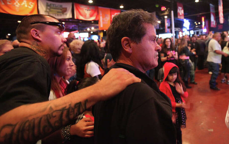 Ernie Zenteno listens to the band as they plays one of his sisters  songs during the Norma Zenteno Benefit and Tribute Concert at SRO's Sports Bar & Cafe on Sunday, Feb. 24, 2013, in Houston.  Norma Zenteno lost her battle with breast cancer on Friday. Photo: Mayra Beltran, Houston Chronicle / © 2013 Houston Chronicle