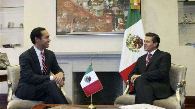Mexican President Enrique Pena Nieto met with San Antonio Mayor Julian Castro Thursday, Feb. 21, 2013, at Los Pinos, the Mexican president's residence.