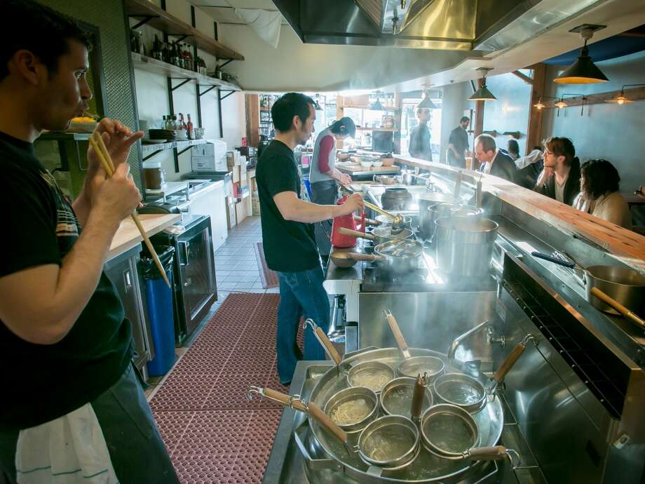 By the setup in the kitchen it's clear that ramen is the main event. Jaksich stands at the stove facing diners next to his wooden crates of portioned noodles, tasting and adjusting the pots of broth - generally miso, tonkotsu (pork) and shoyu...