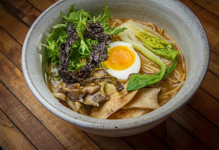 In addition there's always a garlicky vegetable miso ramen ($13), which on my visits had mizuna, a half of an egg, broccoli rabe and some form of mushroom.