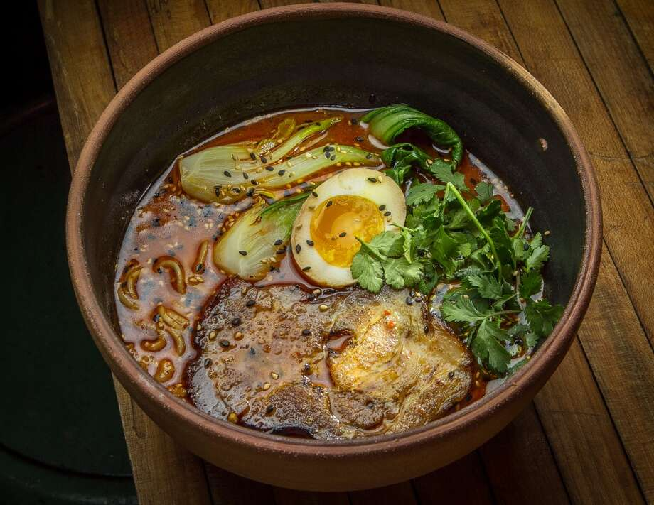 One night I had spicy tantanmen ramen ($14, pictured) with a shoyu egg, bok choy and ground pork belly that gave the broth a thick, velvety texture. Another night, kotteri miso ($14) had an even thicker, richer texture, with ground pork belly and Manila clams. On different visit, the spicy ramen ($15) was accented with clams and the light menthol flavor of chrysanthemum leaves.