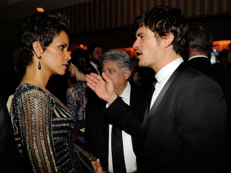 Halle Berry and Orlando Bloom  attends the 2013 Vanity Fair Oscar Party hosted by Graydon Carter at