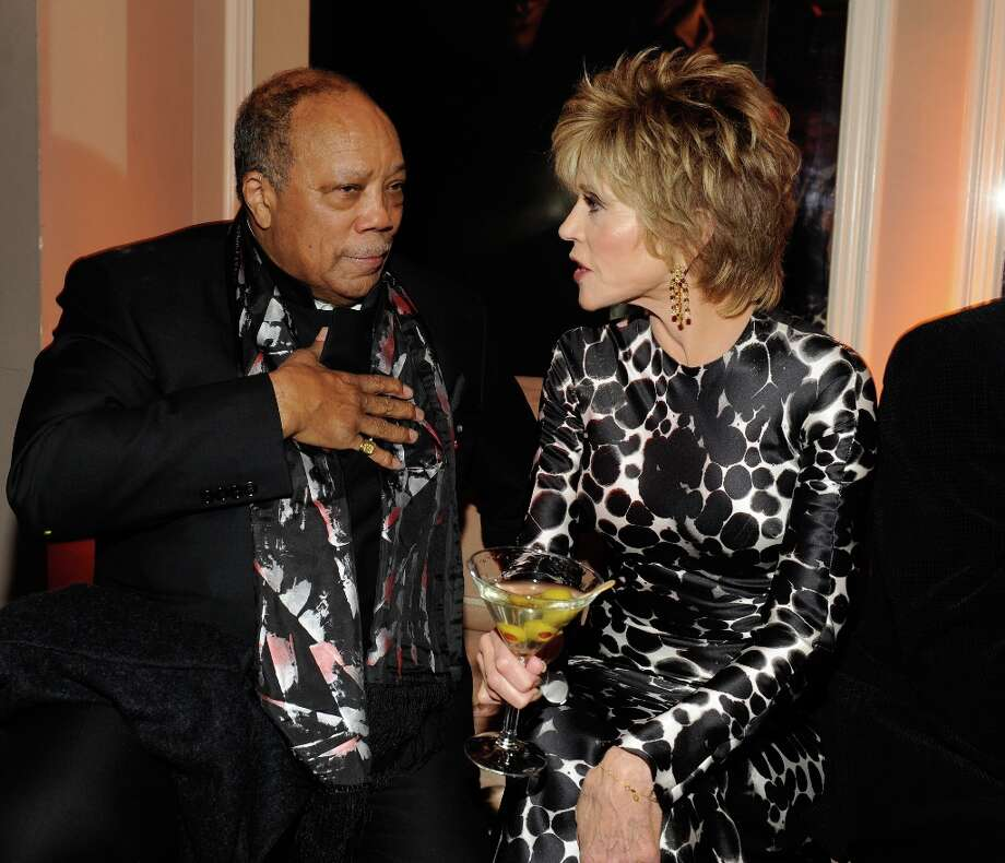 Quincy Jones and Jane Fonda  attend the 2013 Vanity Fair Oscar Party hosted by Graydon Carter at Sunset Tower on February 24, 2013 in West Hollywood, California. Photo: Kevin Mazur/VF13, WireImage / 2013 Kevin Mazur/VF13