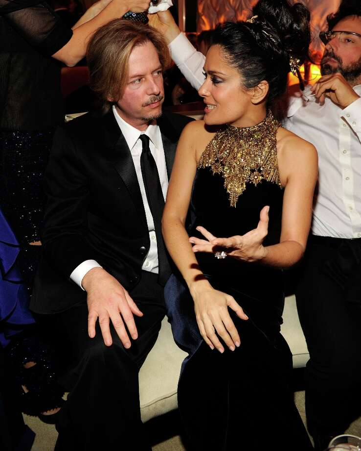 David Spade and Salma Hayek attend the 2013 Vanity Fair Oscar Party hosted by Graydon Carter at Sunset Tower on February 24, 2013 in West Hollywood, California. Photo: Kevin Mazur/VF13, WireImage / 2013 Kevin Mazur/VF13