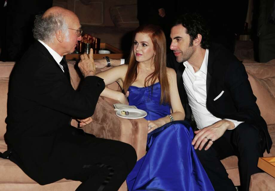 (L-R) Larry David, Isla Fisher, and Sacha Baron Cohen attend the 2013 Vanity Fair Oscar Party hosted by Graydon Carter at Sunset Tower on February 24, 2013 in West Hollywood, California. Photo: Jeff Vespa/VF13, WireImage / 2013 Jeff Vespa/VF13