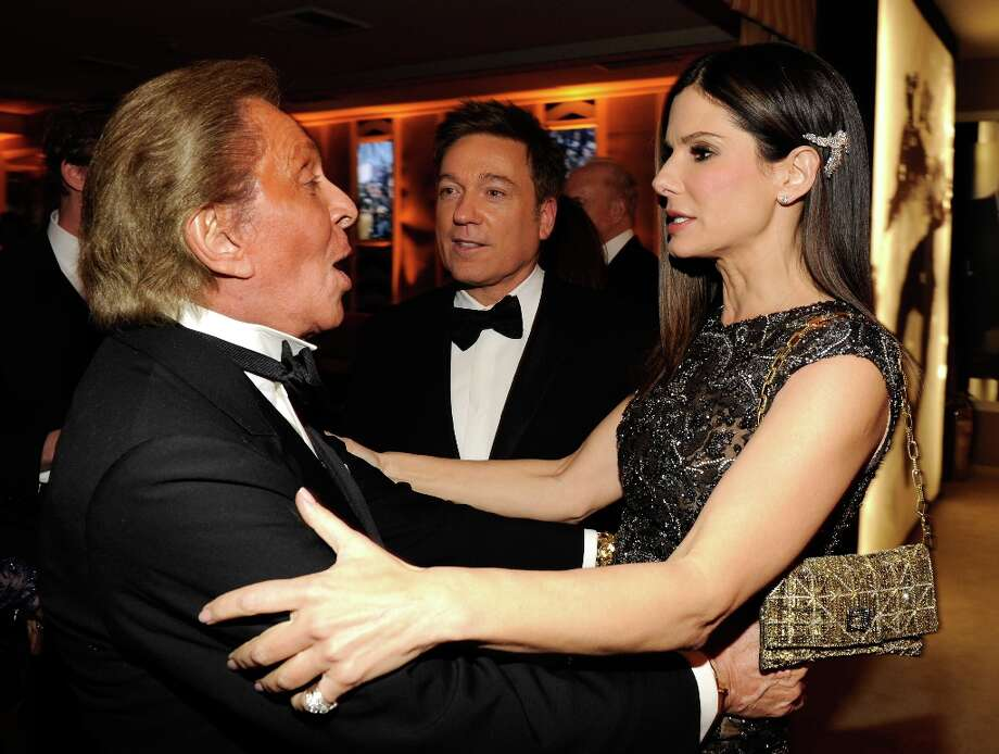Valentino Garavani and Sandra Bullock attend the 2013 Vanity Fair Oscar Party hosted by Graydon Carter at Sunset Tower on February 24, 2013 in West Hollywood, California. Photo: Kevin Mazur/VF13, WireImage / 2013 Kevin Mazur/VF13