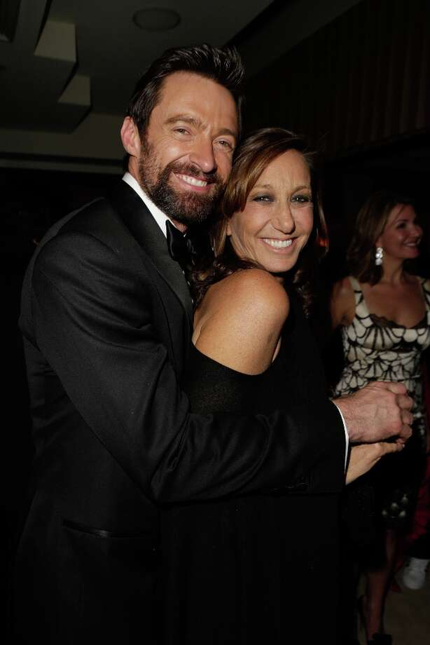Actor Hugh Jackman and designer Donna Karan attend the 2013 Vanity Fair Oscar Party hosted by Graydon Carter at Sunset Tower on February 24, 2013 in West Hollywood, California. Photo: Jeff Vespa/VF13, WireImage / 2013 Jeff Vespa/VF13