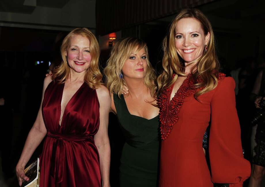 (L-R) Actresses Patricia Clarkson, Amy Poehler, and Leslie Mann attend the 2013 Vanity Fair Oscar Party hosted by Graydon Carter at Sunset Tower on February 24, 2013 in West Hollywood, California. Photo: Jeff Vespa/VF13, WireImage / 2013 Jeff Vespa/VF13