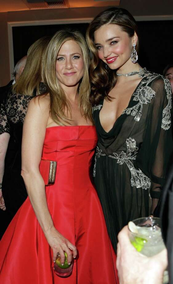 Actress Jennifer Aniston and model Miranda Kerr attend the 2013 Vanity Fair Oscar Party hosted by Graydon Carter at Sunset Tower on February 24, 2013 in West Hollywood, California. Photo: Jeff Vespa/VF13, WireImage / 2013 Jeff Vespa/VF13