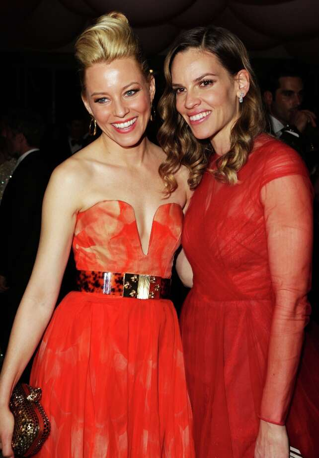 Actors Elizabeth Banks and Hilary Swank attend the 2013 Vanity Fair Oscar Party hosted by Graydon Carter at Sunset Tower on February 24, 2013 in West Hollywood, California. Photo: Jeff Vespa/VF13, WireImage / 2013 Jeff Vespa/VF13