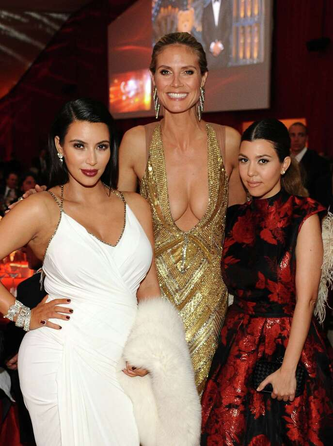 TV personality Kim Kardashian, Model Heidi Klum and TV personality Kourtney Kardashian attend Chopard at 21st Annual Elton John AIDS Foundation Academy Awards Viewing Party at Pacific Design Center on February 24, 2013 in West Hollywood, California. Photo: Stefanie Keenan, Stefanie Keenan/Getty Images For Chopard / 2013 Stefanie Keenan