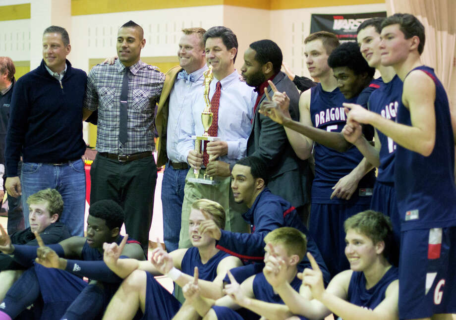 The Greens Farms Academy boys basketball team defeated Brunswick 67-42 on Saturday at Coyle Gym to win its first Fairchester Athletic Association title. Photo: Contributed Photo / Norwalk Citizen