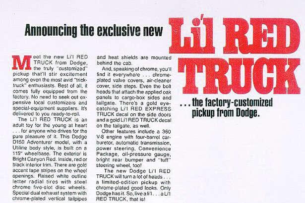 Dodge ad for 1978 Li'l Red Express Truck