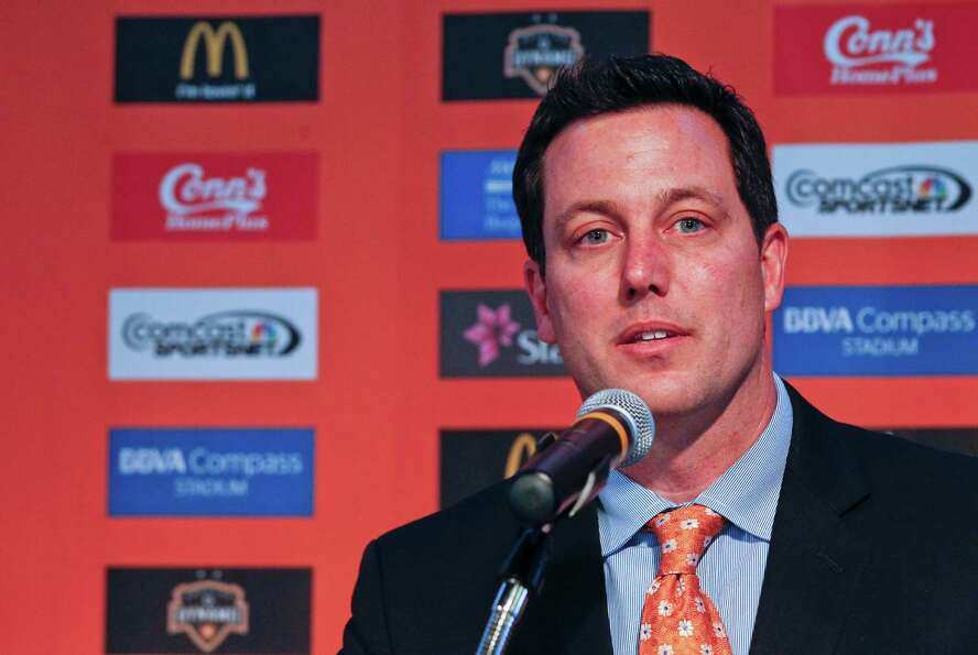2/25/13: Chris Canetti at the new Houston Dynamo uniform unveiling at BBVA Stadium in Houston Texas.