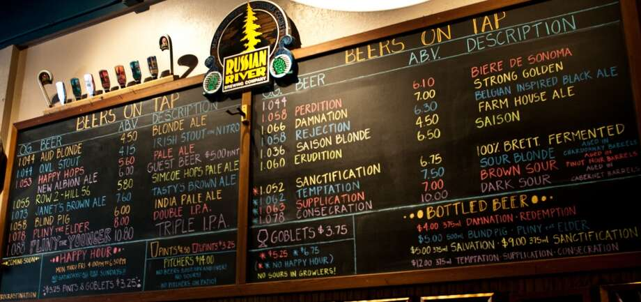 In this file photo,  the menu board at Russian River Brewing Co.