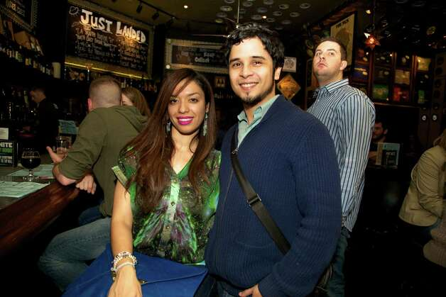 Jeanelly Concepcion and Wilbur Santiago are enjoying a night out at the Flying Saucer Draught Emporium.