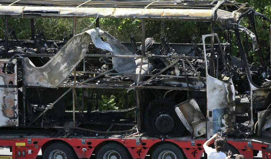 A terrorist bomb killed five Israeli tourists, their Bulgarian bus driver and the terrorist bomb-carrier on July 18, 2012. A report on the attack was released this month. Photo: Associated Press