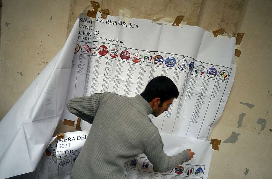 A worker removes electoral information banners at a polling station in Rome. The inconclusive vote raises the possibility that new elections will need to be held in the coming months. Photo: Filippo Monteforte, AFP/Getty Images