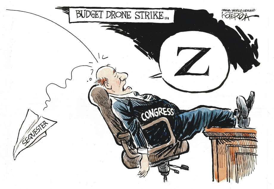 "Jeff Koterba cartoon for February 7, 2013 ""Drone Budget Congress"""