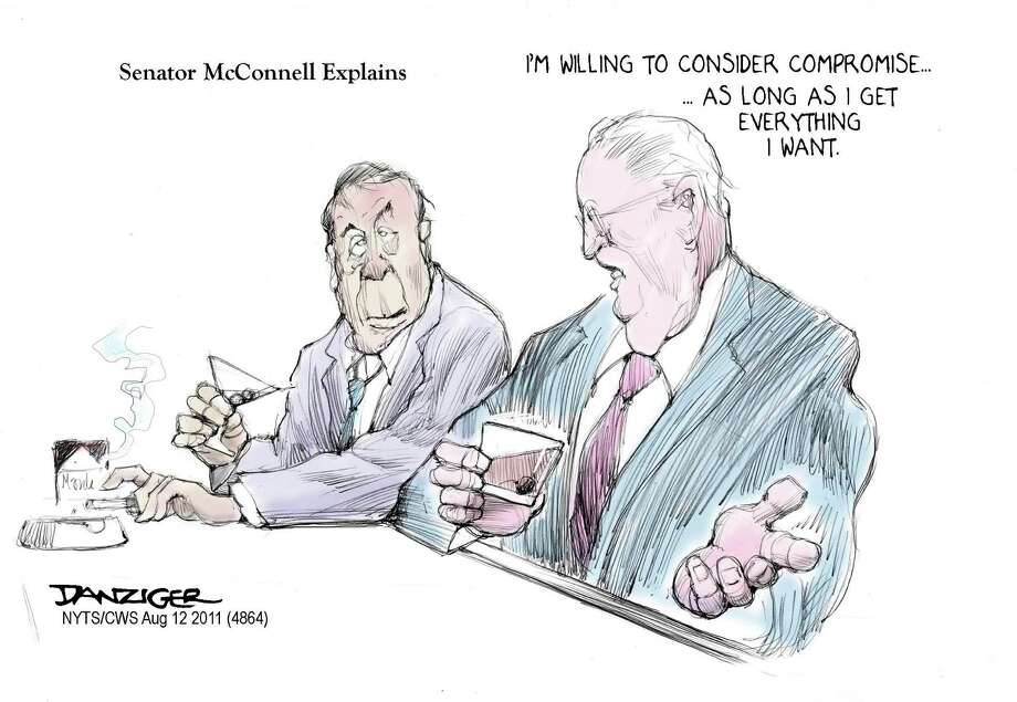 Mitch McConnell, John Boehner, Compromise, Super Committee, political cartoon Photo: JEFF DANZIGER / c Jeff Danziger 2011